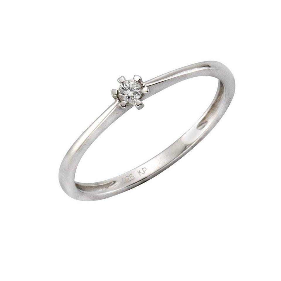 CELESTA Ring »925/- Silber 1x Diamant« in Silbergrau
