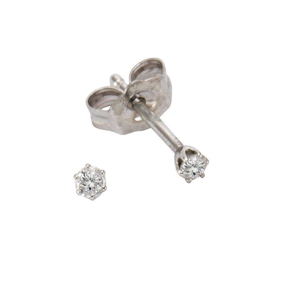 CELESTA Ohrstecker »925/- Silber 2x Diamant« in Silbergrau