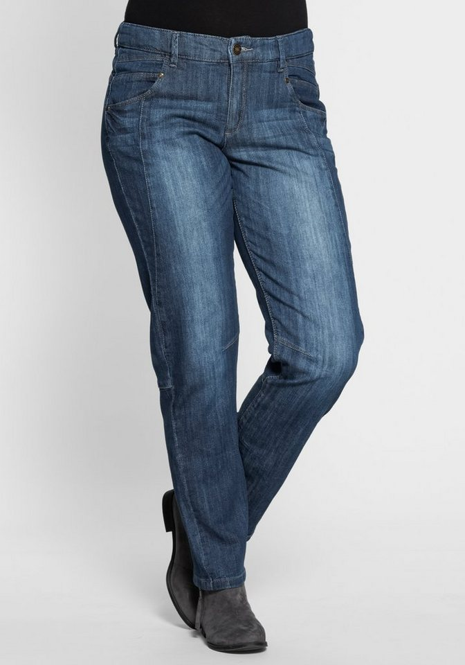 "sheego Denim Schmale Stretch-Jeans ""Kira"" in dark blue denim"