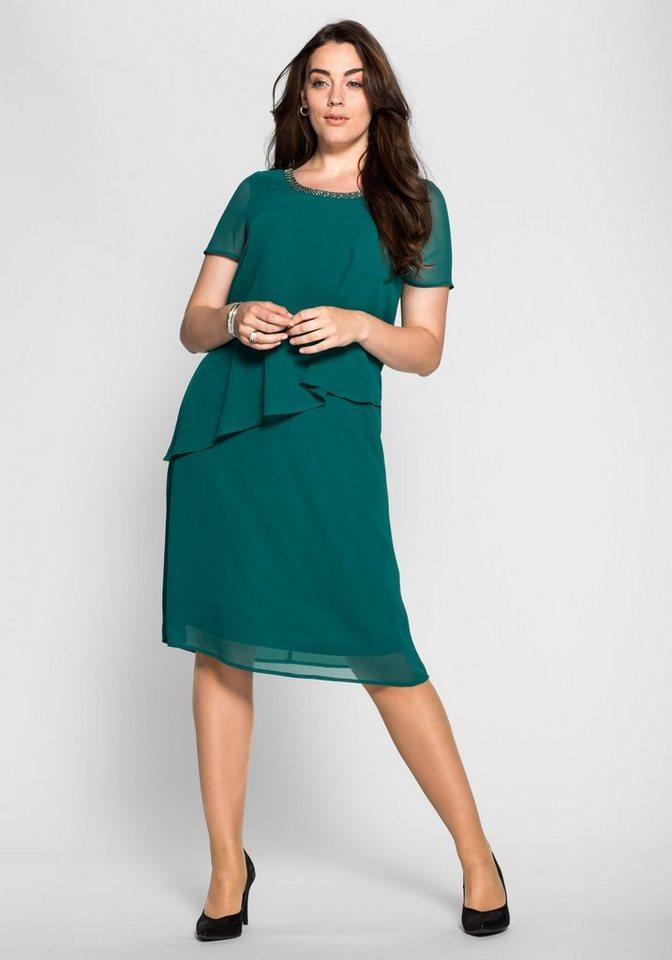 sheego Style Chiffonkleid in Lagenoptik in smaragd