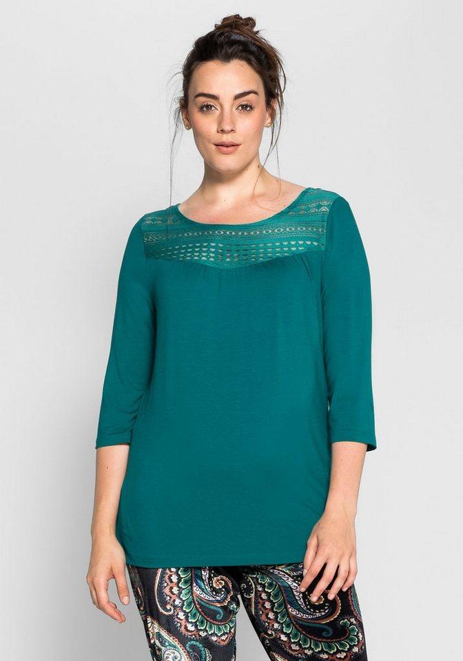Shirt mit Spitzeneinsatz in smaragd