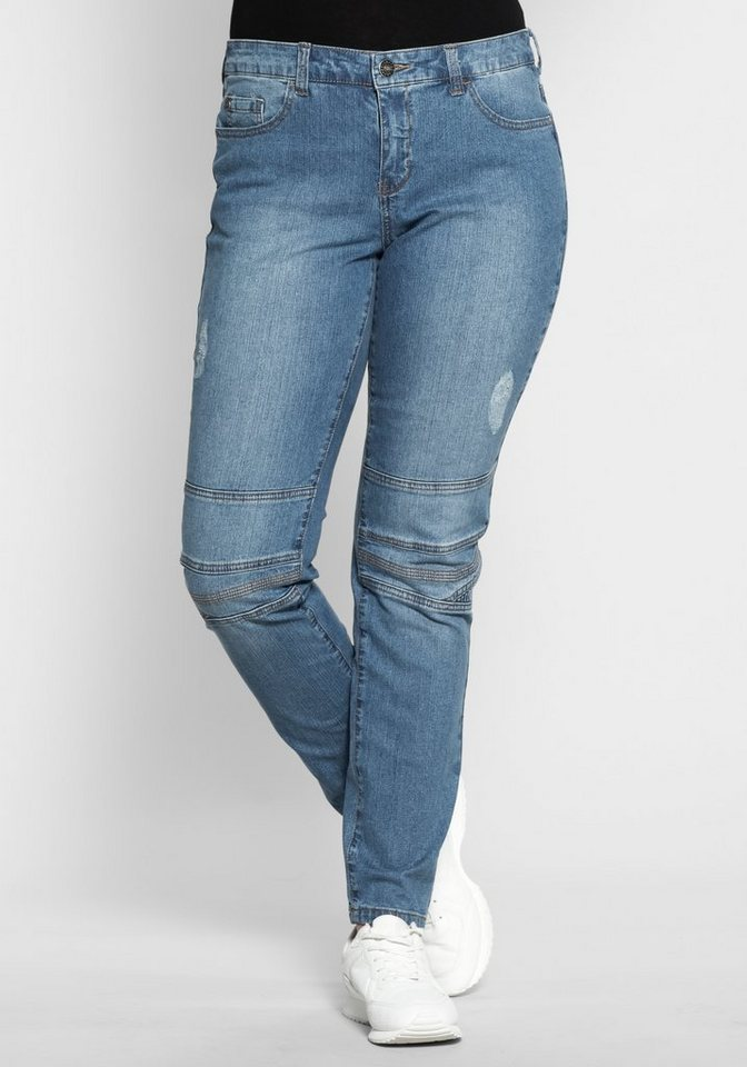 sheego Denim Schmale Stretch-Jeans im Used-Look in blue Denim
