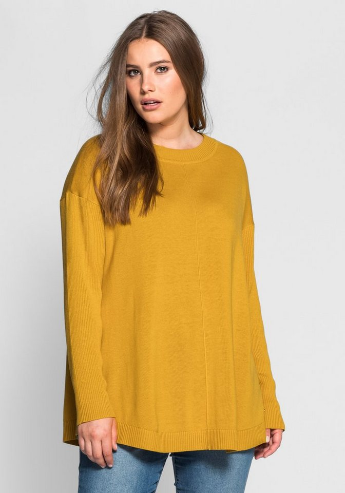 sheego Casual Oversize-Pullover im Strick-Mix in senfgelb