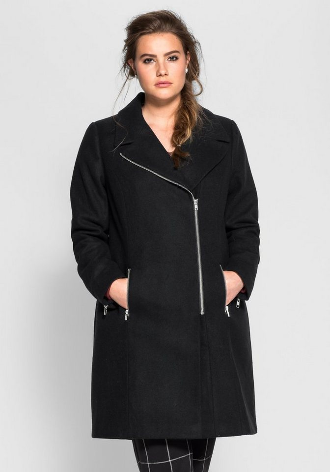 Mantel mit Reverskragen in schwarz
