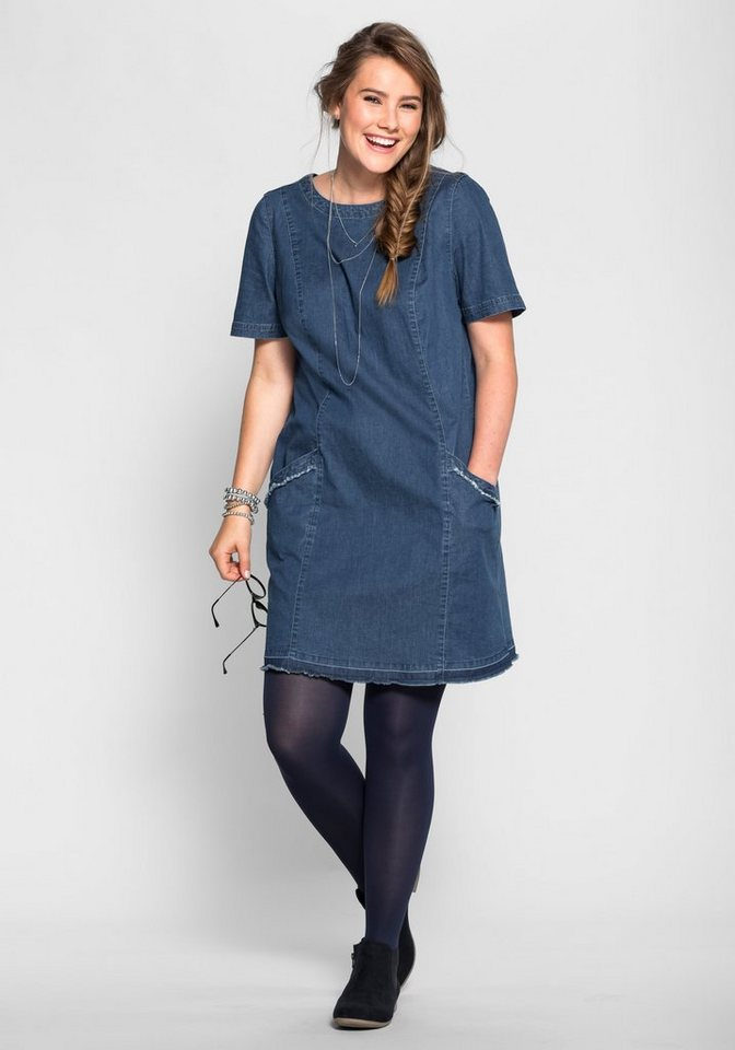 sheego Denim Jeanskleid in Mini-Form in blue Denim