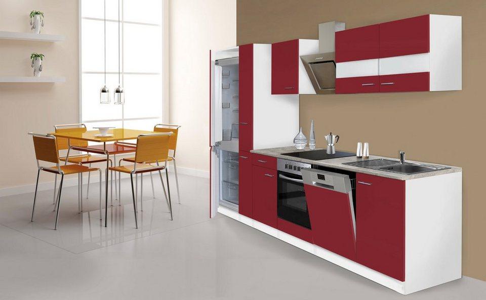 Küchenzeile mit E-Geräten »Ibiza«, 310 cm in rot/weiß