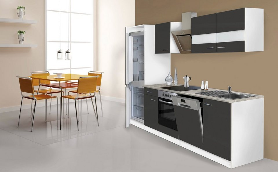Küchenzeile mit E-Geräten »Ibiza«, 280 cm in grau/weiß