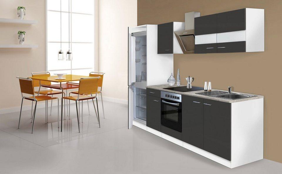 Respekta Küchenzeile mit E-Geräten »Ibiza«, 270 cm in grau/weiß