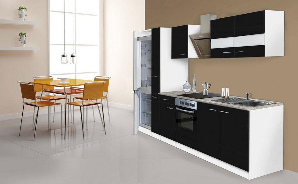 Küchenzeile mit E-Geräten »Ibiza«, 300 cm in schwarz/weiß