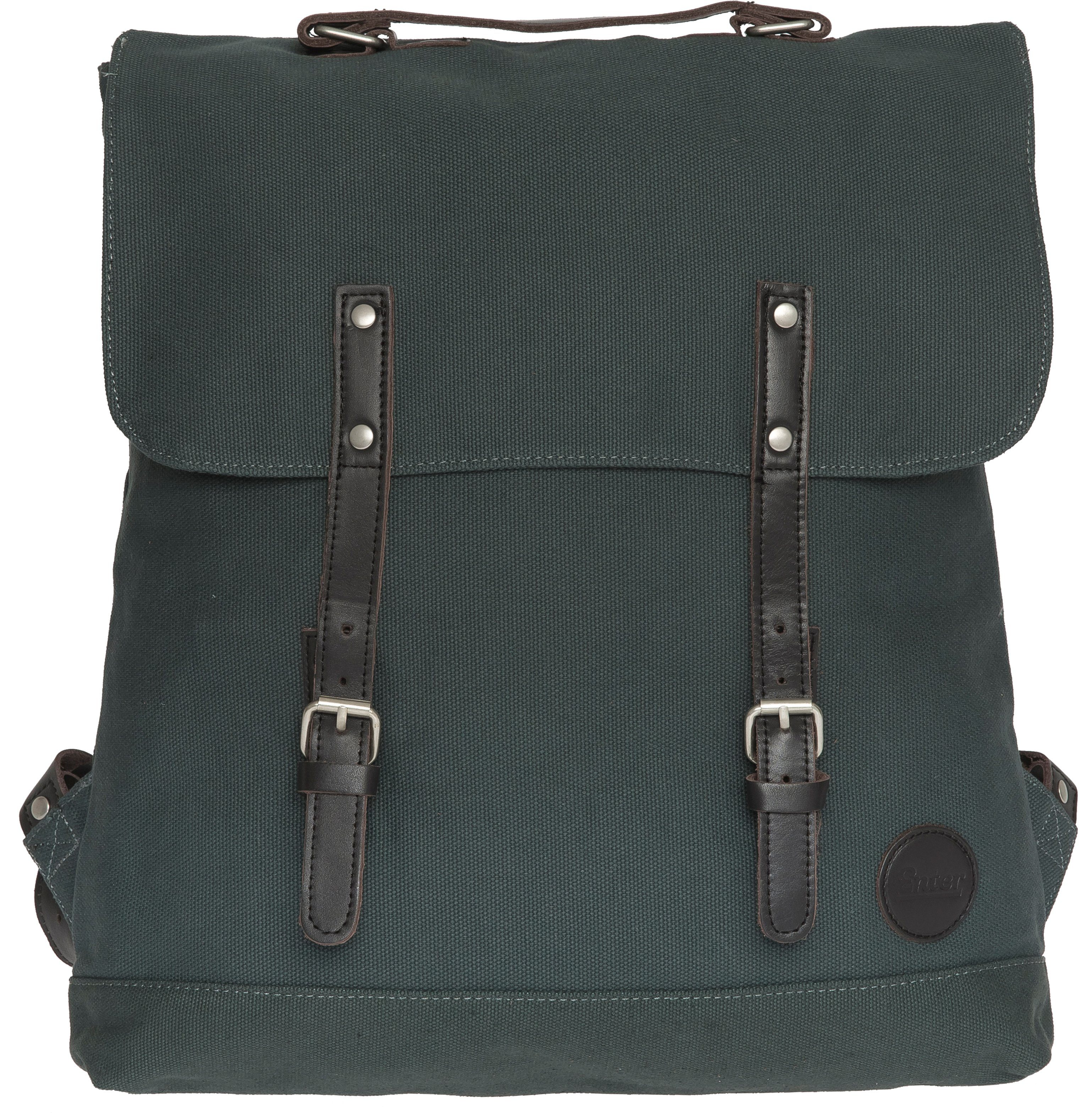 Enter Rucksack, »Backpack, Army Green/ Dark Brown Leather«