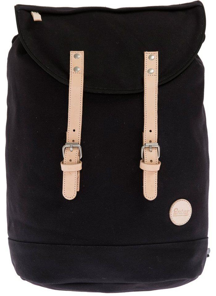 Enter Rucksack, »Day Hiker Backpack, Black/ Natural Leather« in schwarz/hell