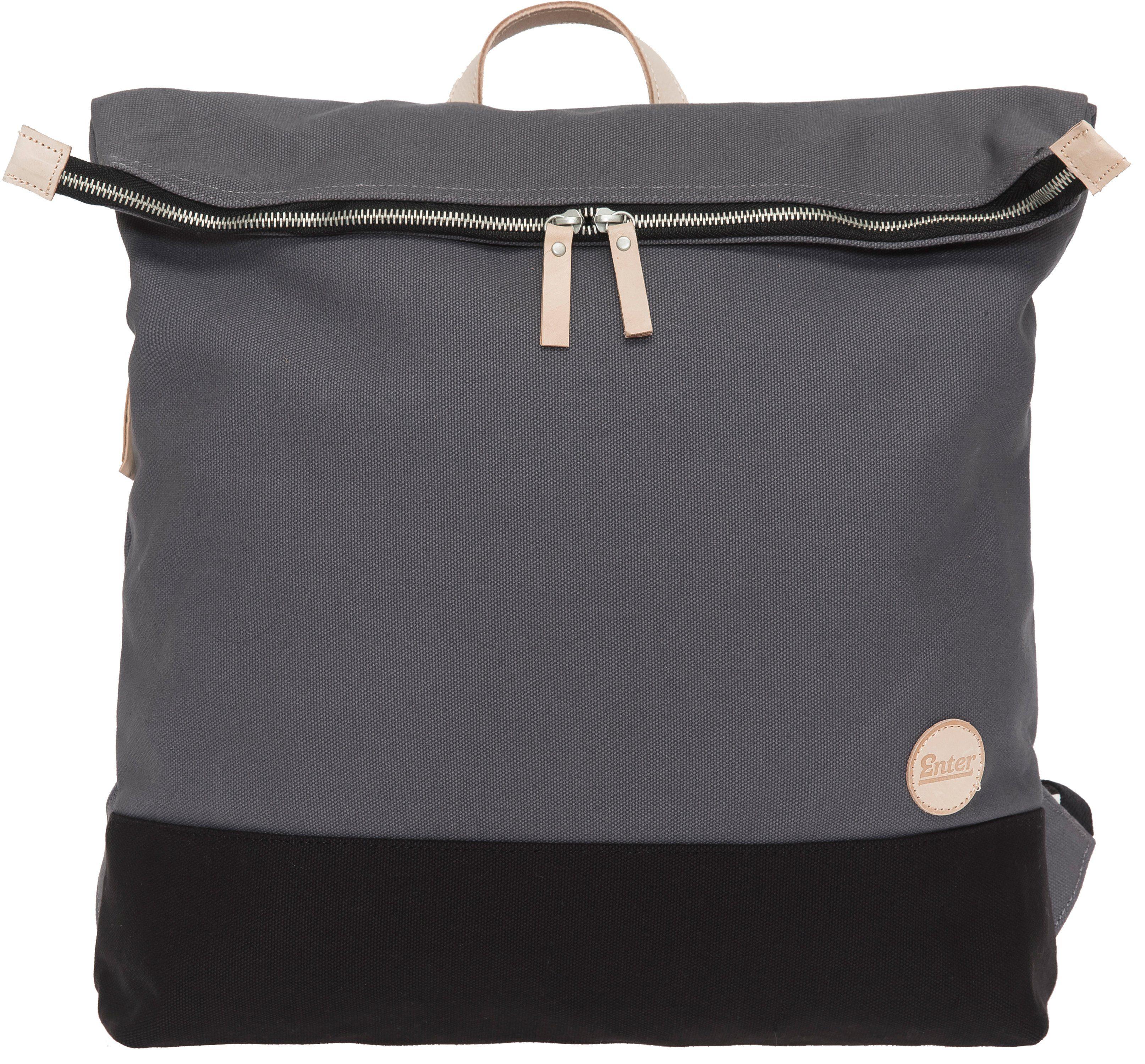 Enter Rucksack, »Top Zip Backpack, Grey/Black Base/Natural Leather«