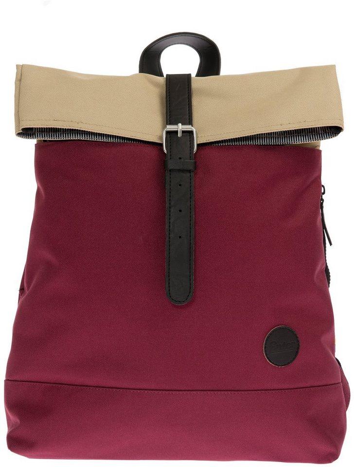 Enter Rucksack, »Fold Top Backpack, Whine Red/Khaki Top« in dunkelrot/khaki