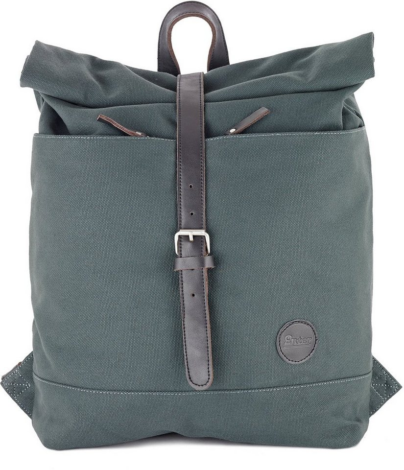 Enter Rucksack mit Aufroll-Verschluss, »Roll Top Backpack, Army Green/Dark Brown Leather« in grau/schwarz