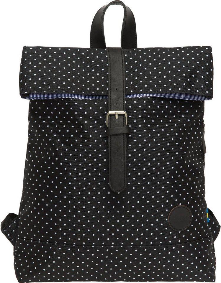 Enter Rucksack, »Fold Top Backpack, Polkadot« in schwarz/weiß