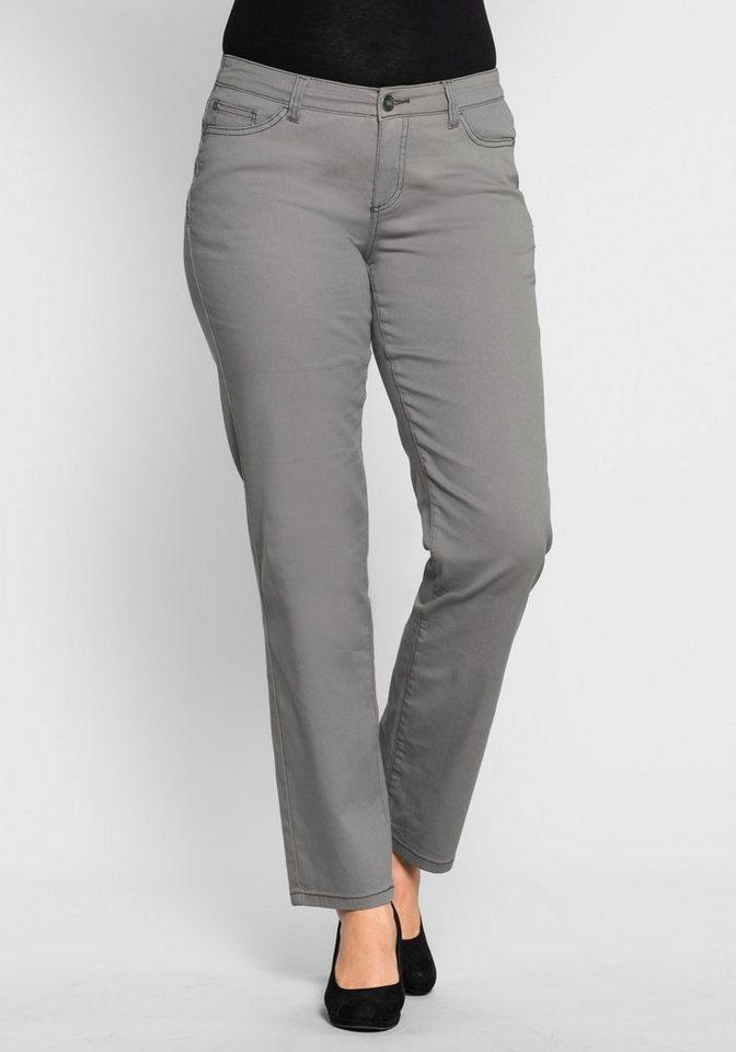 sheego Style Gerade Stretch-Hose mit Spitzeneinsatz in steingrau