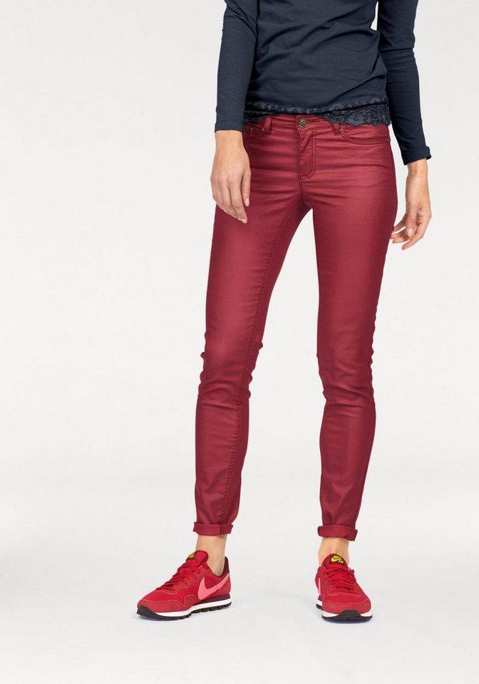 AJC 5-Pocket-Jeans beschichtetes Material in rot