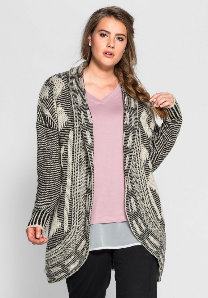 sheego Trend Longcardigan aus Strick in offwhite-ant