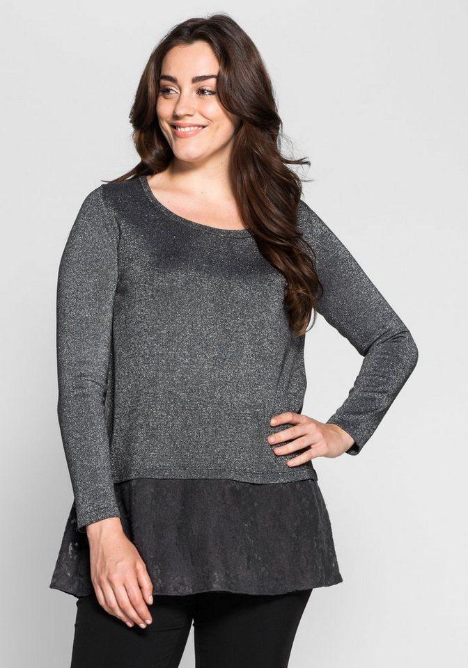 sheego Style Pullover in Lagenoptik in anthrazit meliert