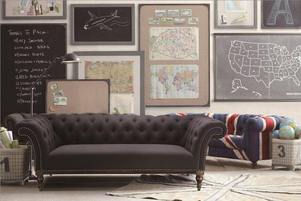Kasper-Wohndesign Sofa Stoff anthrazit mit Ziernägeln 3-Sitzer »GLORIA«