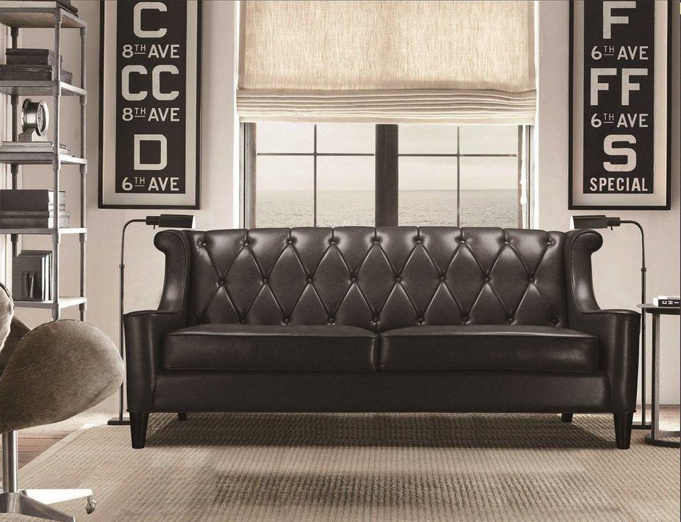 Kasper-Wohndesign Sofa Kunstleder schwarz 3-Sitzer »PALACE«