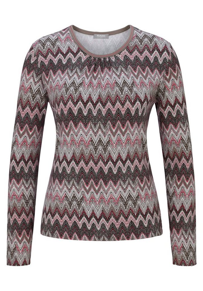 Rabe Shirt mit Allover-Muster in HASELNUSS