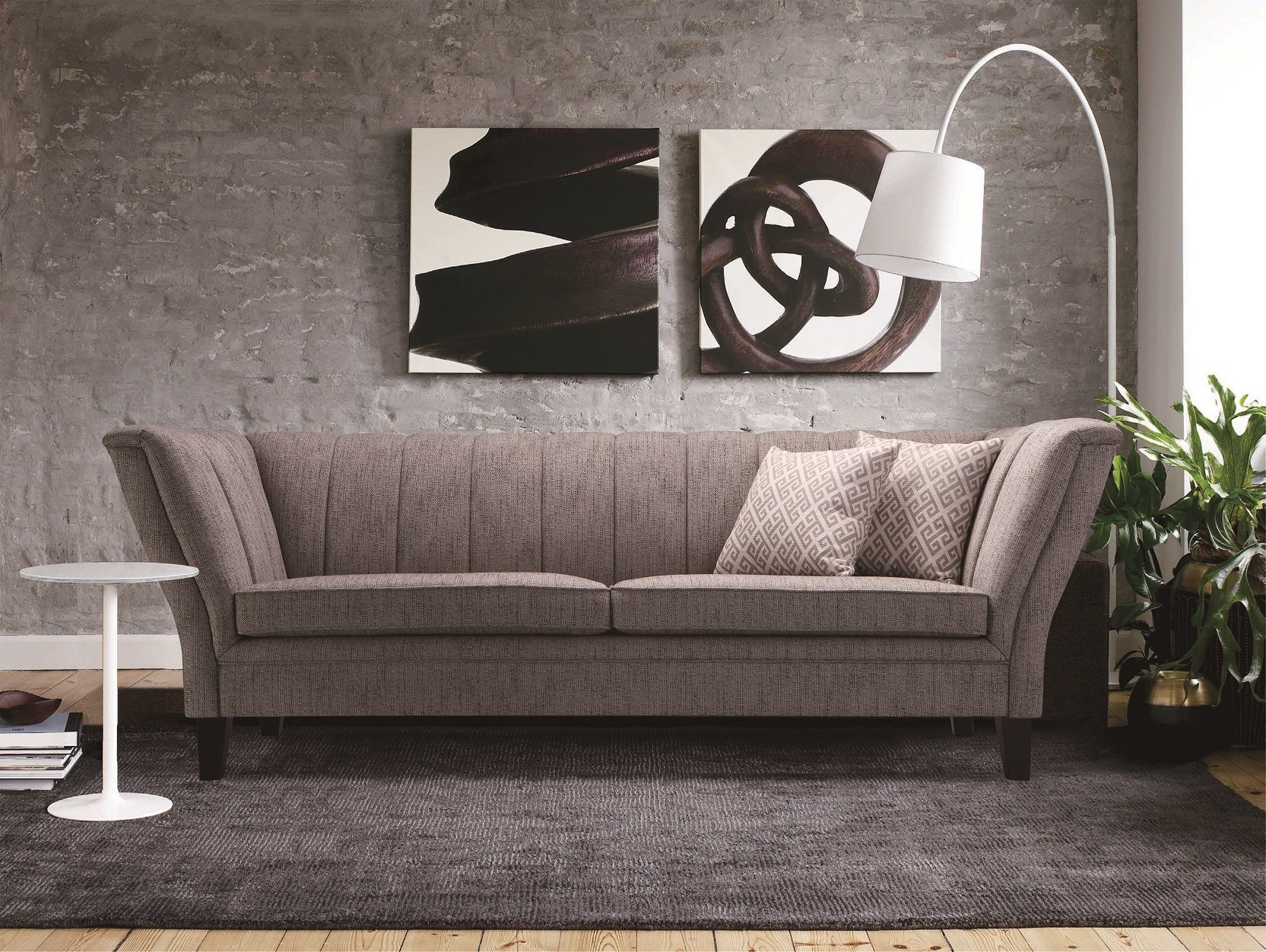 Kasper-Wohndesign Sofa Stoff hellgrau 3-Sitzer »MELANGE«
