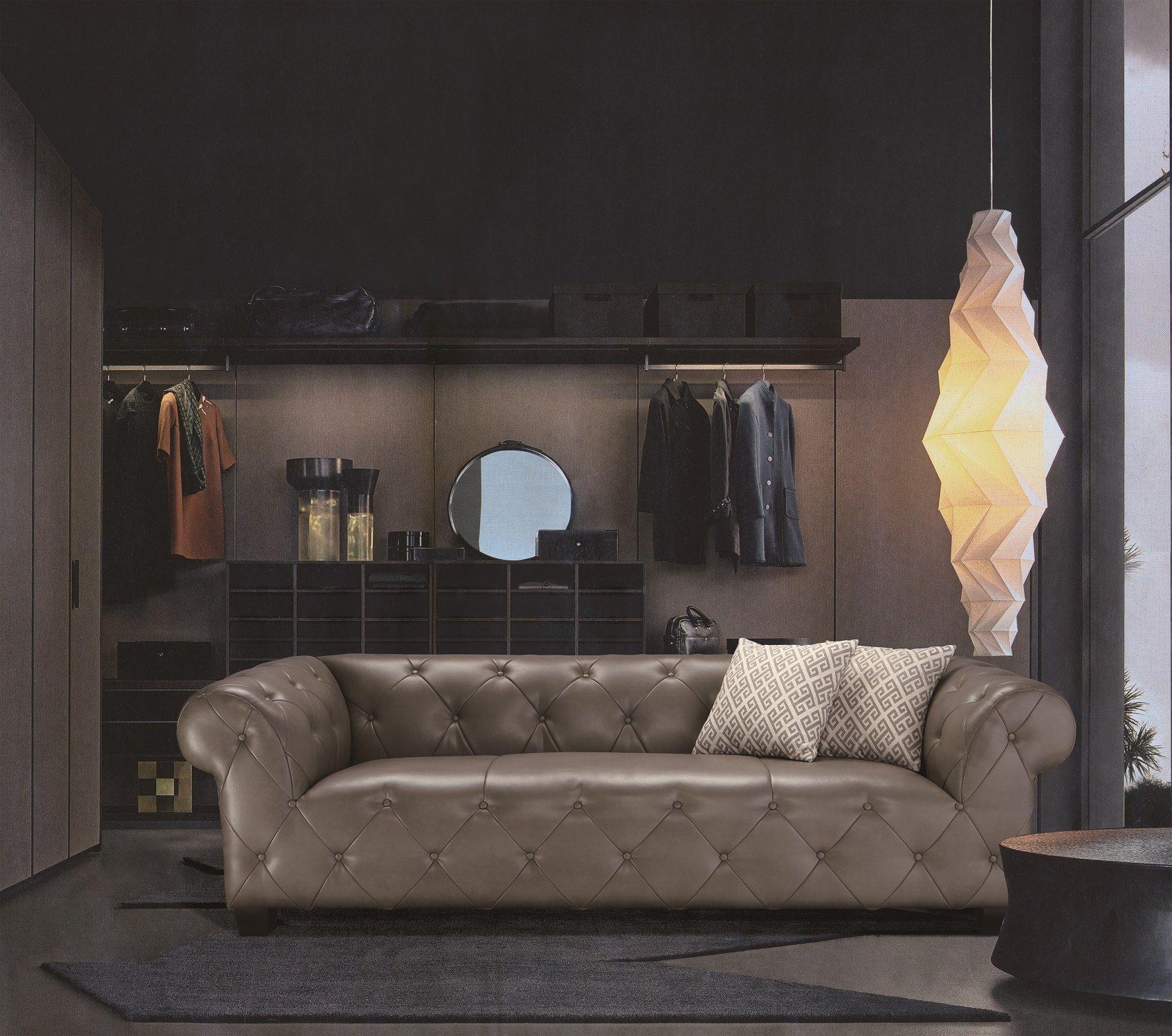 Kasper-Wohndesign Sofa Kunstleder hellgrau 3-Sitzer »STONE«