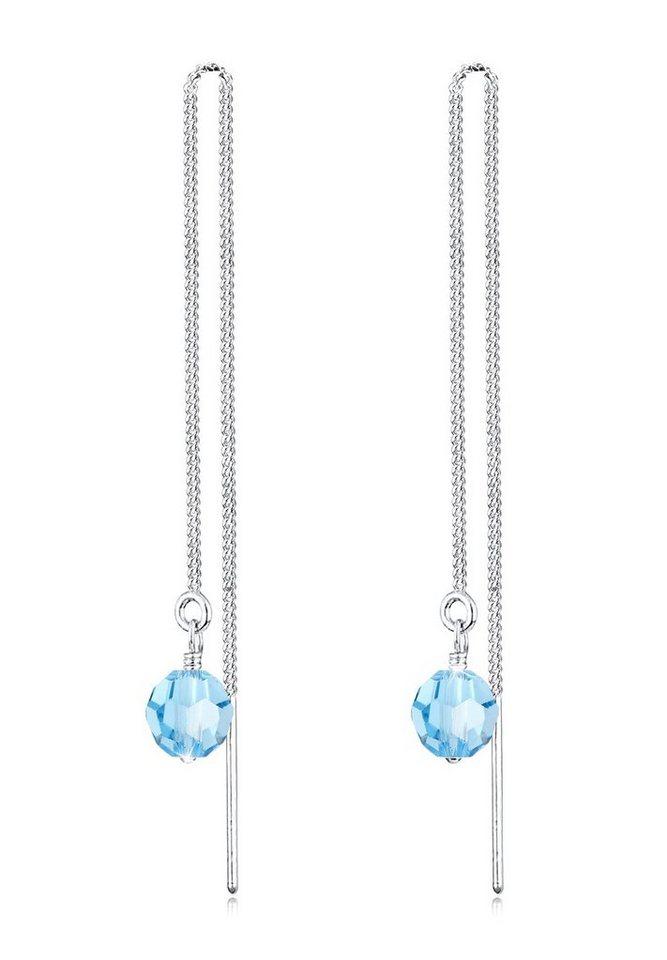 Elli Ohrringe »Ohrhänger Swarovski Kristalle Silber« in Hellblau