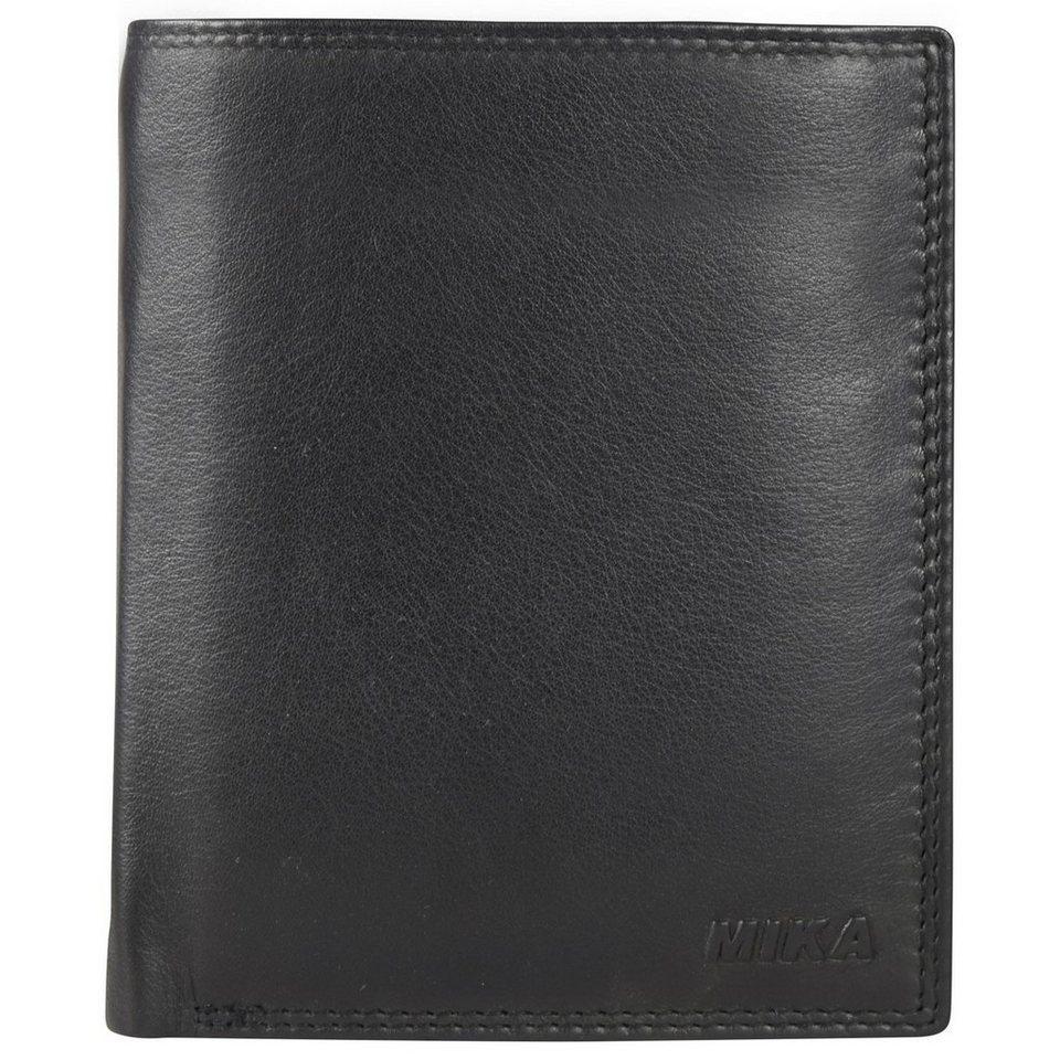 Mika Lederwaren Accessoires Geldbörse Leder 10,5 cm in black