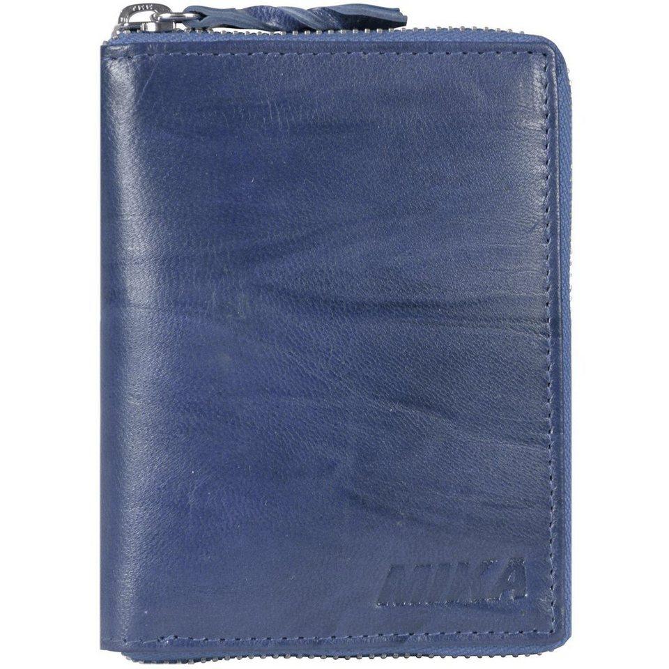 Mika Lederwaren Accessoires Geldbörse Leder 10 cm in blau