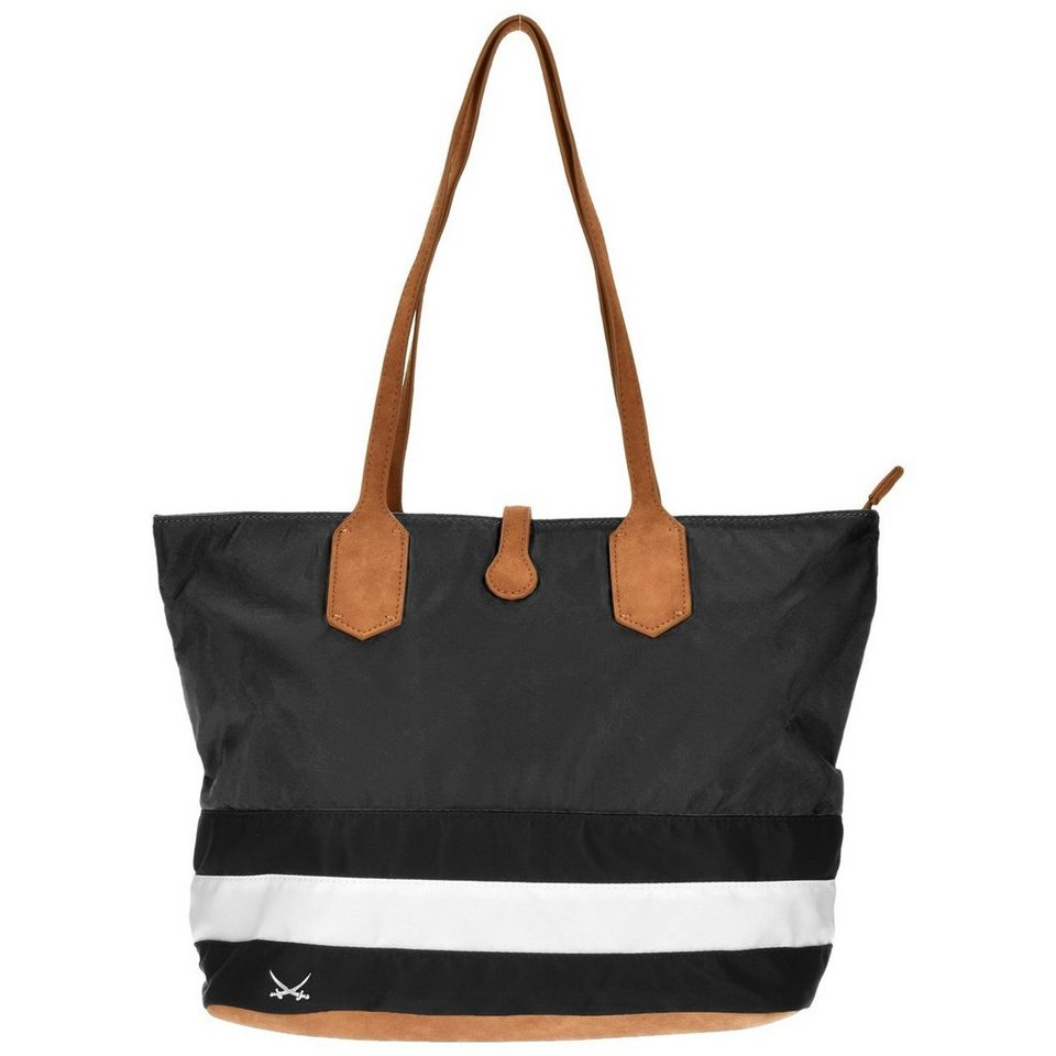 Sansibar Smart Shopper Tasche 40 cm in black-white-cognac
