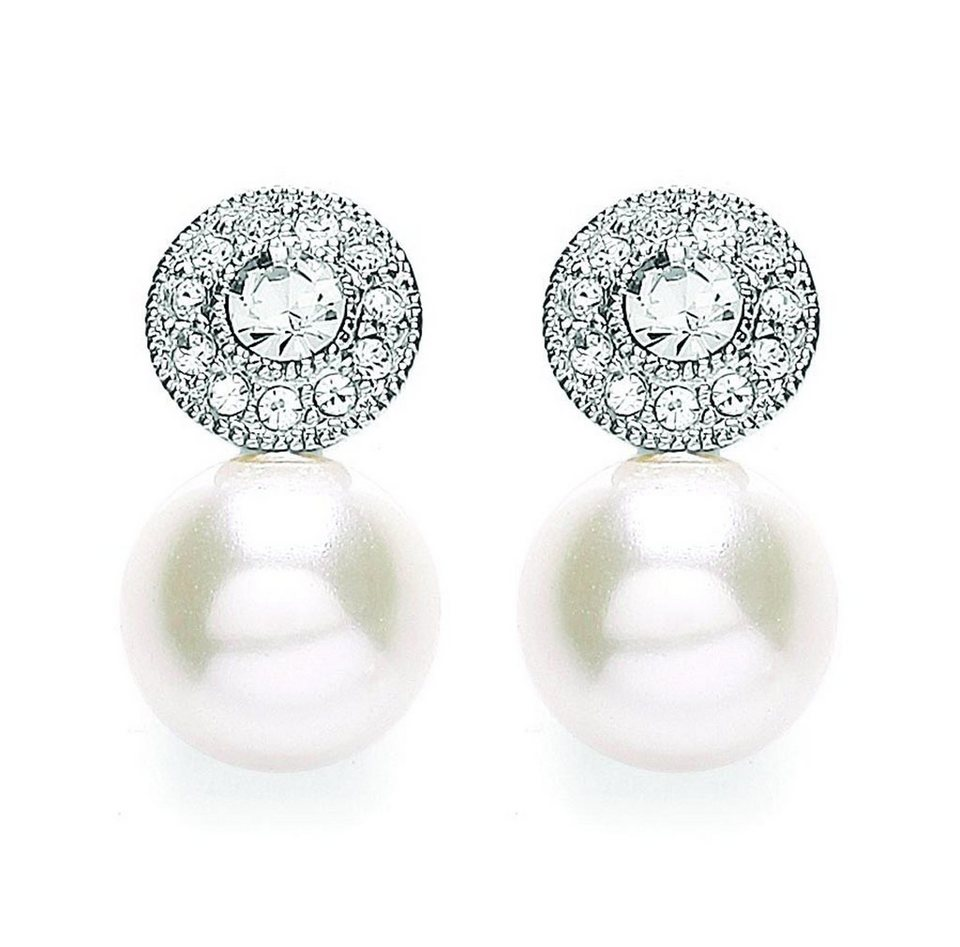 Buckley London Ohrstecker »rhodiniert mit Kristallen und Glasperle« in weiß
