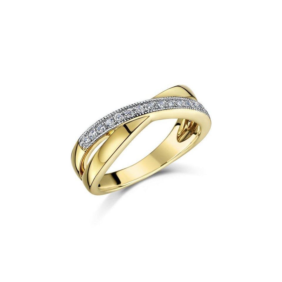 Buckley London Ring »vergoldet mit Zirkonia« in gelb