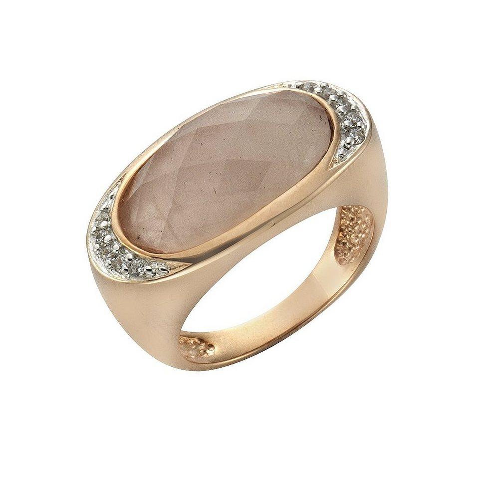 Zeeme Ring »925/- Sterling Silber Rosenquarz« in rosa