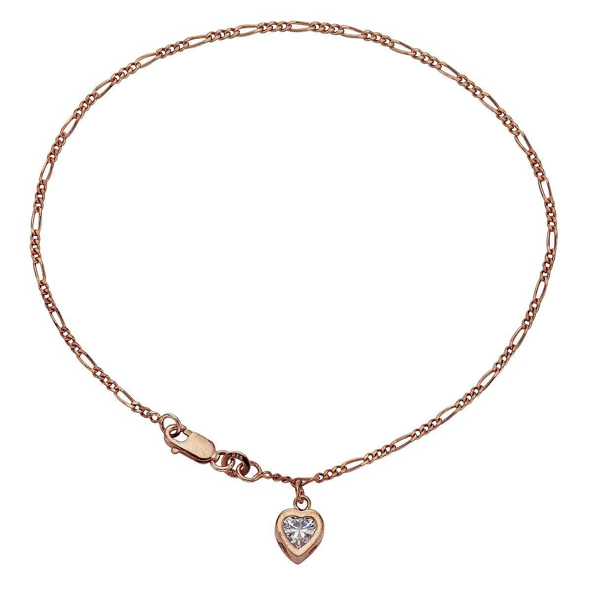 Zeeme Fußkette »925/- Sterling Silber Zirkonia Herz«