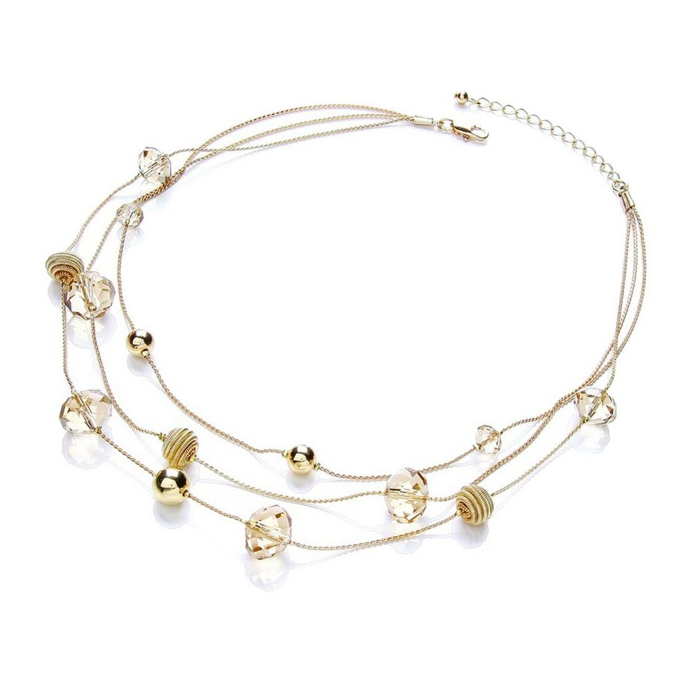 Buckley London Collier »goldfarben mit Glasstein und Beads« in gelb