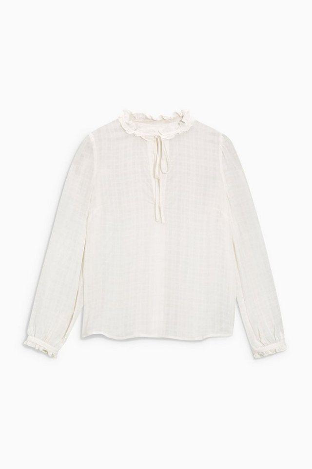 Next Shirt mit Rüschenausschnitt und Bindeschleife in Ecru