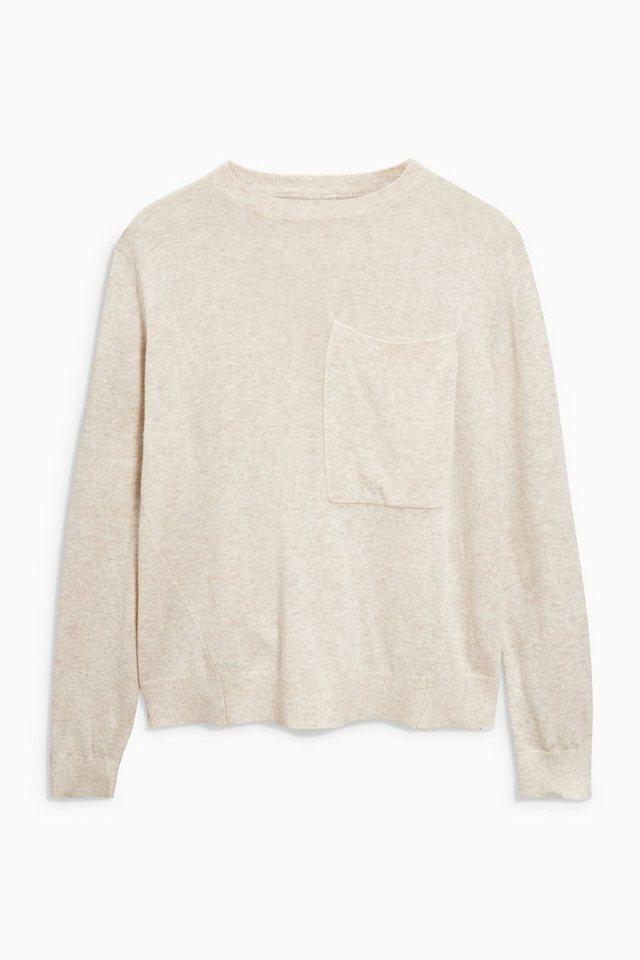 Next Pullover mit Brusttasche in Oatmeal