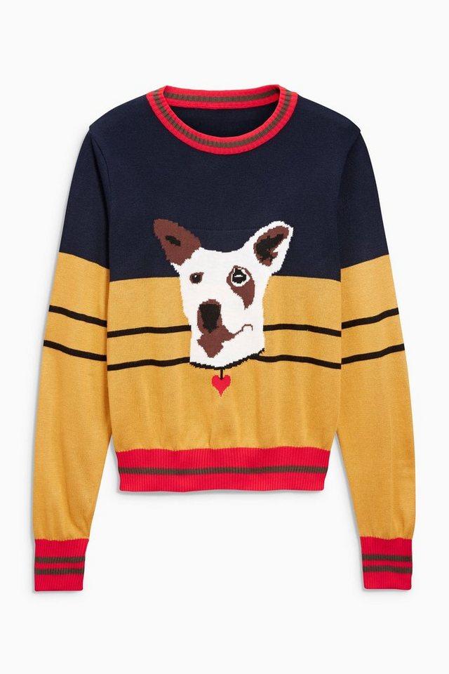 Next Pullover in Colourblock-Optik mit Hundemotiv in Red/Yellow/Navy