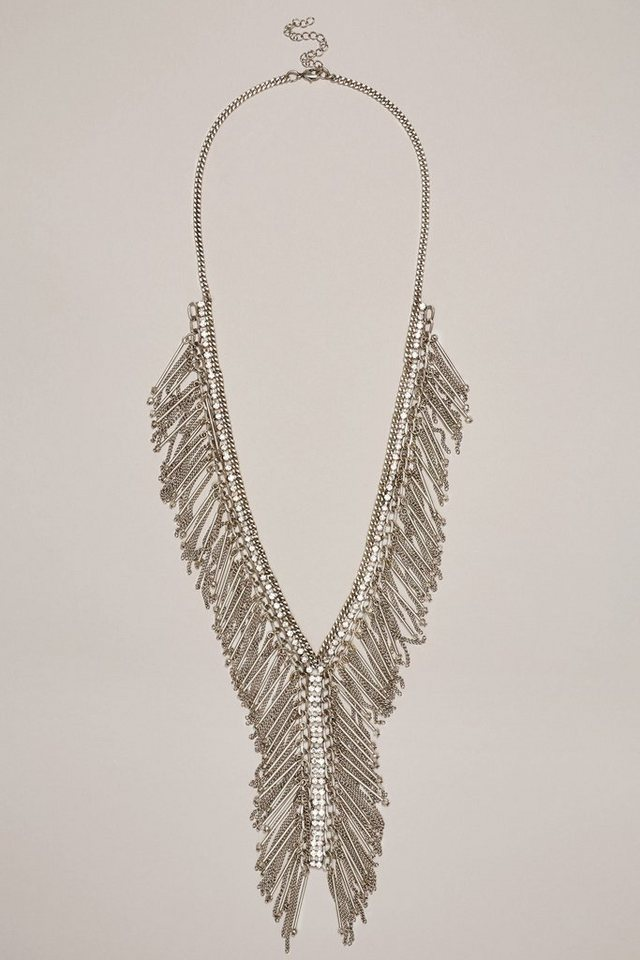 Next Halskette mit Perlen- und Quastendetails in Silver Tone