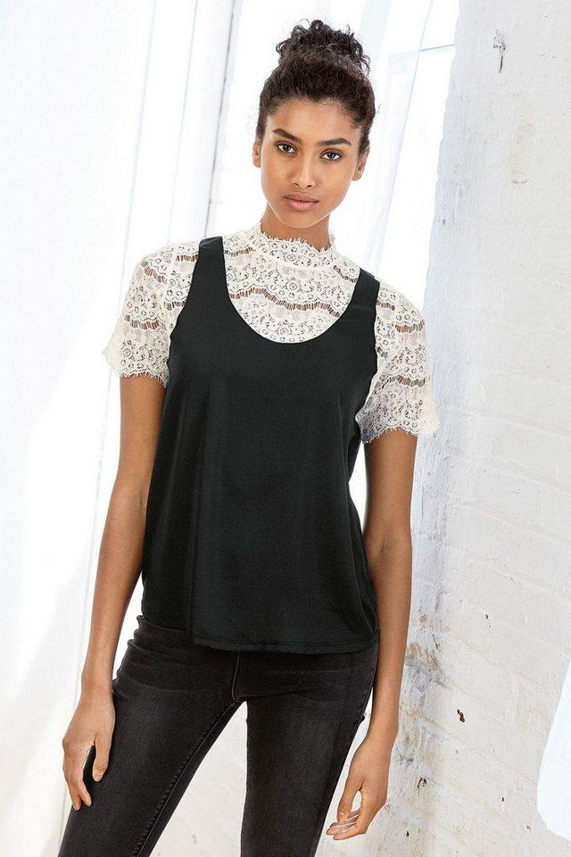 Next T-Shirt mit hohem Ausschnitt und Spitzendetails in Black