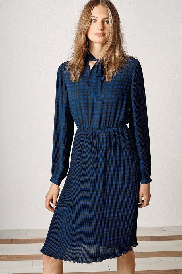 Next Kleid mit Faltendetails und Gittermuster in Navy