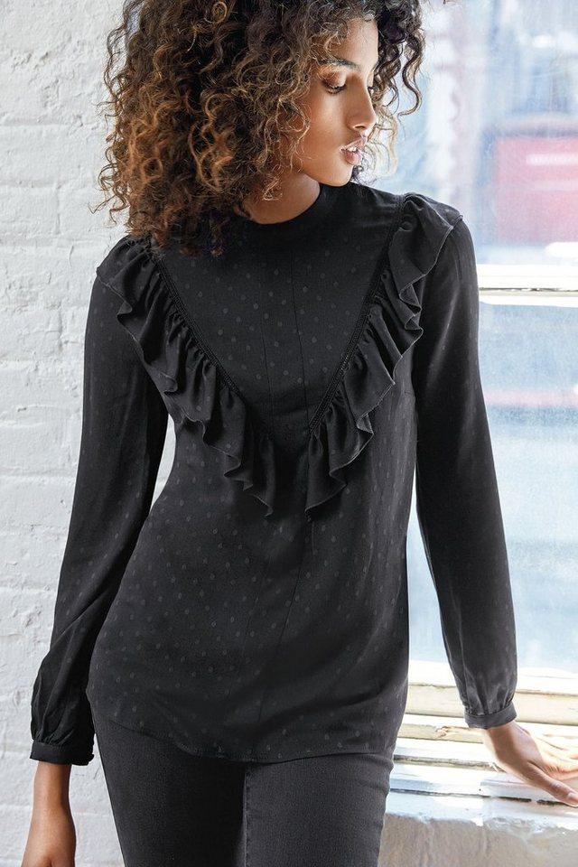 Next Langärmeliges Shirt mit Rüschen in Black