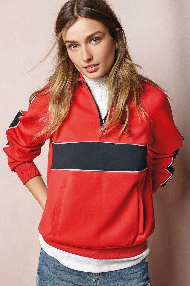 Next Sportliches Kapuzensweatshirt mit Kontrasteinsätzen in Red