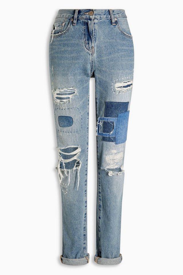 Next Boyfriend-Fit Jeans in Used-Optik in Mid Blue