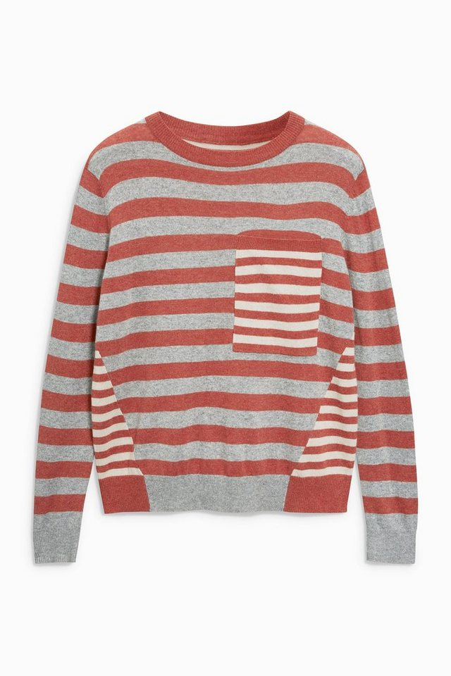 Next Pullover mit Brusttasche in Rust Stripe