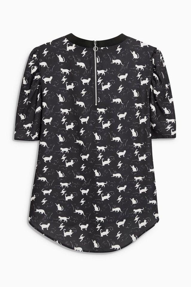 Next T-Shirt mit Puffärmeln in Black/White Regular
