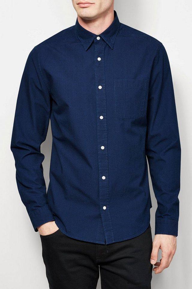 Next Langärmeliges Hemd mit feinem Karomuster in Indigo Blue