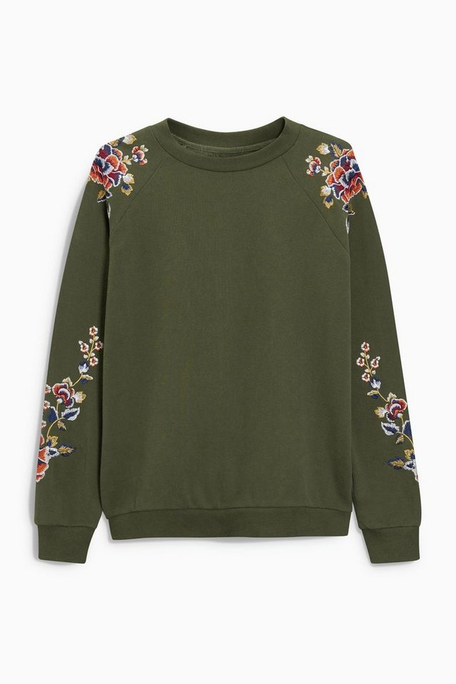 Next Verziertes Sweatshirt in Green Regular